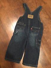 Levi's Baby Toddler Unisex Bib Overalls Denim Blue Jean Red Tab  Dark Wash 18m