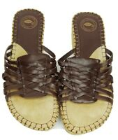 Nurture shoes 7 brown leather woven slides 2-inch espadrille wedge heel sandals