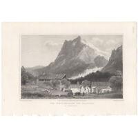 Swiss Scenery antique 1820 engraving landscape print, Pl 36 The Wetterhorn