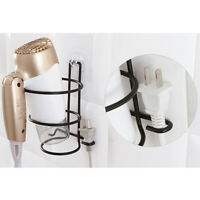Bathroom Wall Mount Hair Dryer Holder Rack Spiral Stand Storage Organizer Hanger