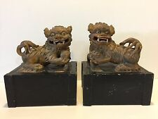 Pair of Antique Chinese Wooden Hand Carved & Painted Foo Dog Statues Figurines