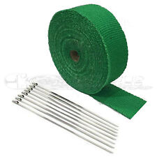 """2"""" X 25' Green HEAT WRAP / STAINLESS CABLE ZIP TIE STRAPS EXHAUST PIPE HEAVY NEW"""