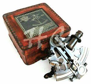 Antique Maritime Brass Nautical Sextant Leather Case Kelvin Hughes London 1917