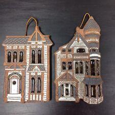 Victoria Littlejohn Ceramics San Franciso Victorian House Wall Plaques Set of 2