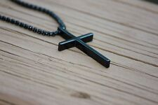 MEN/WOMEN Stainless Steel Black Smooth Box Chain Necklace Cross Pendant
