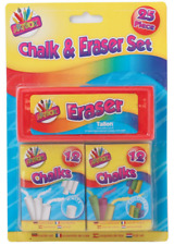 Coloured & White 12 Pack Chalks and Eraser School Art Learning Kids Playground