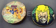 """Vintage Brass Slammer 1/2"""" New York Giants & 3/8"""" Marvel XMen Hero Pogs Milk Cap"""