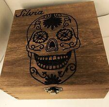 Personalised Wooden Jewellery Memory Box 16cm Mexican Sugar Skull Keepsake Gift
