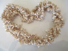 """2 Strands 0f Genuine All Natural Shell Beads Necklace - 40"""" - Great Luster"""