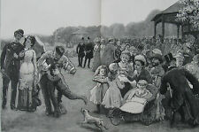 1880 Two Large Antique Prints - Regents Park, London - Cricket & Refreshments