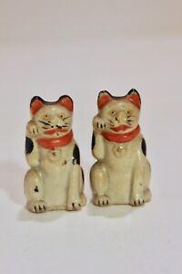 Vintage Kutani Maneki Neko Japanese Cat Figurines