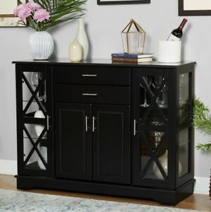 Buffet Cabinet Kitchen Dining Room Storage Organizer Sideboard Console Black Fin