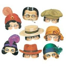 Set of Eight Roaring Twenties Flapper Masks For Dress Up New Year Party Partys