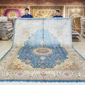 9x12ft Large Silk Area Rugs Medallion Blue Oriental Carpets Handmade 620A