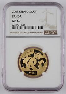 China 2008 200 Yuan 1/2 Troy Oz 999 Gold Panda Coin NGC MS69 Better Date