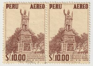 1953-1960 Peru - Airmail - Monument to Manca Capac - Pair 10.00 S Stamp