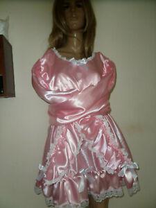 "ADULT BABY SISSY PINK SATIN BONDAGE STRAIGHT JACKET  DRESS 52"" PRETTY  LACE"