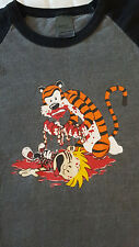 Calvin and Hobbes T-Shirt Hobbes Kills Calvin Macabre Funny Dead Humor LARGE