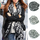 Women's Punk Pirate Skull Print Soft Long Scarf Shawl Kerchief Scarves Wrap Gift