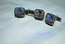 Silver Tone Cufflinks  and Matching Tie Clip Blues Purple Color Changeing