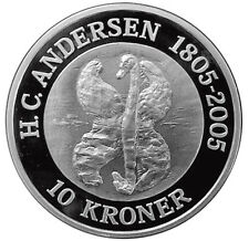 DENMARK 10 KRONER 2005 Silver 1 Oz. 0.999 PF THE UGLY DUCKLING - FAIRYTALE