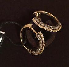 NWT $4200 LE VIAN Chocolatier 0.97tcw Diamond 14K Yellow Gold Hoop Earrings RARE