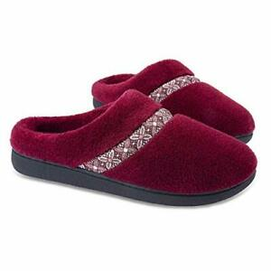 Womens Cozy Memory Foam Slippers Comfy Fleece Slip-on House Shoes Red 9.5/10.5US