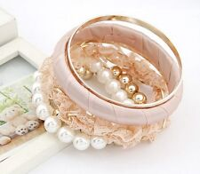 Bangle set 6 pieces bracelets flower lace beads pearl