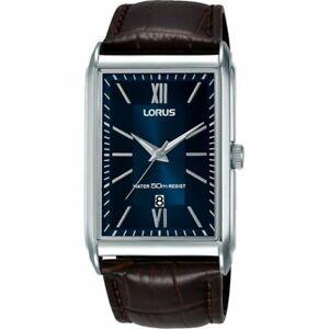 Lorus Blue Dial Brown Leather Strap Gents Dress Watch RH911JX9