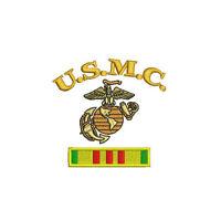 USMC EGA emblem with Vietnam Service Ribbon Military Army Embroidered Polo Shirt
