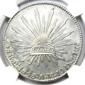 1843-Pi AM Mexico Republic 8 Reales Coin 8R - Certified NGC AU Detail