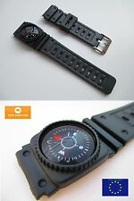 Rubber Divers Sports Watch Strap 20mm with integrated Compass fits Casio Seiko