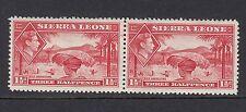 SIERRA LEONE : 1938 GVI 1 1/2d scarlet pair  SG 190  - lightly mounted mint