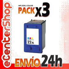 3 Cartuchos Tinta Color HP 22XL Reman HP Deskjet 3940 V 24H