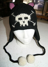 deLux skull CAT HAT knit ADULT costume FLEECE LINED black feline anime emo ears