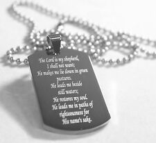 PSALM 23  THICK  NECKLACE  DOG TAG STAINLESS STEEL BALL CHAIN PRAYER MEMORIAL