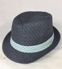 New Joe Fresh Baby Boy  Summer Fedora Hat 12- 24 Months Grey Blue White