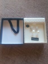 Equilibrium Platinum Plated EARRINGS reversible 2 design PEARL CUBE CZ STONE BOX