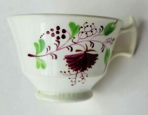 Antique Early Staffordshire Tea Cup Sprig of Flowers Stick Spatter Red Flowers