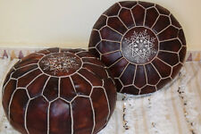 PAIR (2) New Moroccan Leather Ottoman Pouffe Pouf Footstools in DARK TAN
