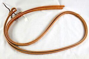 """Amish Herman Oak Heavy Harness Leather Split Reins w/Water Loop Ends 5/8""""x8ft"""