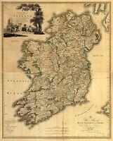 Ireland Map old Vintage Illustrated Travel Poster Print  Framed Canvas