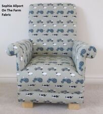 Sophie Allport On The Farm Fabric Child's Chair Green Tractors Diggers Cows Kids