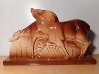Sculpture statue céramique faience animalière art déco Lemanceau Saint Clément