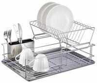 Rust Free 2 Tier Stainless Steel Collapsible Dish Kitchen Rack Drainer Holder UK