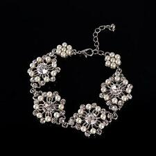 Vintage Pearl Bridal Bracelet Crystal Rhinestone Chain Bracelet Wedding Jewelry