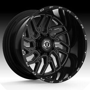20x10 TIS 544BM Black Milled Rims Wheels Fit 6 lug Chevy GMC Ford F150