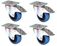 100mm. QUALITY Swivel Flight Case Castors: Blue Wheel. SET OF 4 Braked Casters*