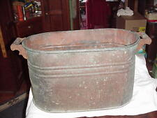 ANTIQUE COPPER BOILER WASH TUB BIN WOOD HANDLES 1900's FIREWOOD HOLDER