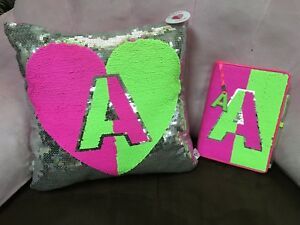 JUSTICE I LOVE HAPPINESS  PILLOW/DIARY INITIAL(A,C,G,K,M,N,R,S)HEART FLIP SEQUIN